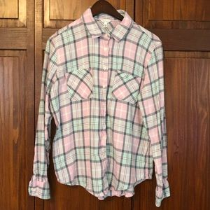 3/$12 item!  Juniors'  Plaid Button-down Shirt.